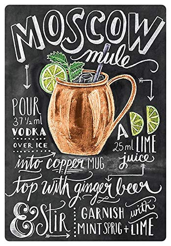Metalen bord 20x30cm Moscow Mule Wodka ijs limoen bord cocktail bar recept