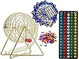 "MR CHIPS 11 Inch Tall Professional Bingo Set with Steel Bingo Cage, Everlasting 7/8"" Bingo Balls, 18 Bingo Cards and 300 Bingo Chips - Luxury Gold"