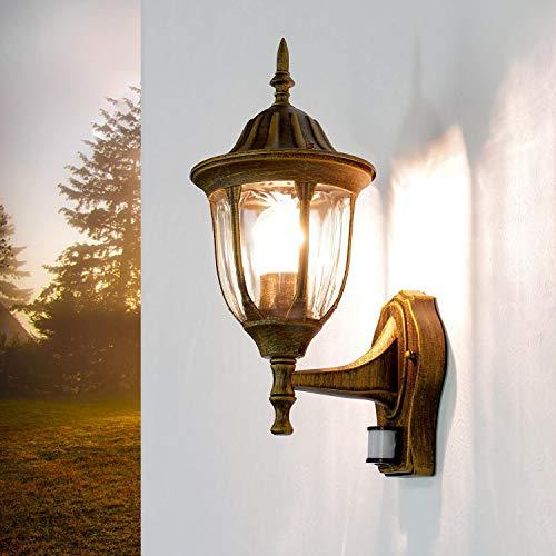 *Rustikale Außenleuchte mit Bewegungsmelder Gold Antik E27 MILANO Gartenlampe Balkon Terrasse Haustür*