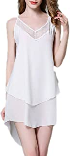 2 pcs, Women's Silk Fabric Pajamas, Chiffon Suspender Nightdress, Sexy lace Pajamas, Casual Home wear, Comfortable and Soft (Color : White, Size : L)