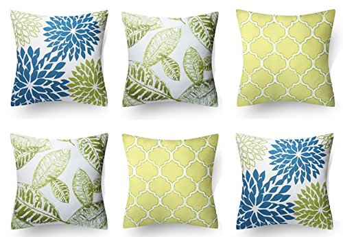 Modern Homes 100% Cotton Floral Design Decorative Throw Pillow Covers 16x16 inches/Cushion Covers for Sofa, Bed; Set of 6