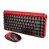 Heayzoki Teclado inalámbrico Mouse Set Punk Style Gaming Mouse Teclado para PC Computadora portátil(Red)