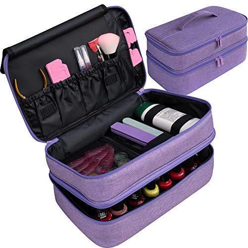 ButterFox Large Nail Polish Storage Organizer Holder Carrying Case Bag, Fits 40-50 Bottles (0.5 fl oz - 0.3 fl oz), Pockets for Manicure Accessories (Purple)