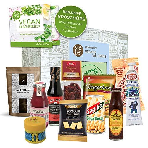 Geschenkset Vegane Köstlichkeiten aus aller Welt Geschenk für Frauen Männer | Vegane Ernährung aus aller Welt | Vegan kochen | außergewöhnliche vegane Süßigkeiten und Lebensmittel Geschenkbox