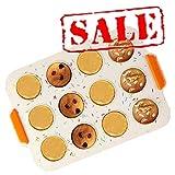 KeepingcooX Mini muffin 12 fori / teglia per Yorkshire Pudding, silicone alimentare, teglia antiaderente per torte / teglia per torta con carne macinata, 30 x 21 cm