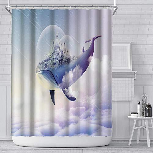 Antischimmel Wasserdicht Polyester Dusche Vorhang Wal Duschvorhang Wasserdicht Mit Vorhängehaken Für Ringe Für Dusche Und Badewanne (180 X 180 cm)
