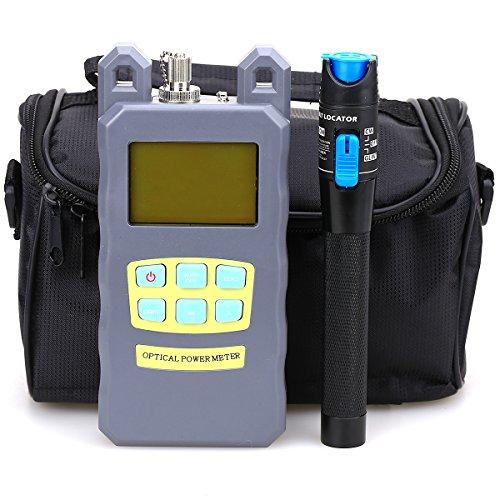 Cool Toner Kit Fibra óptica FTTH Kit de herramientas con medidor de energía óptica 5 km visual, con bolsa de herramientas de fibra vacía y localizador de averías Pack de 3