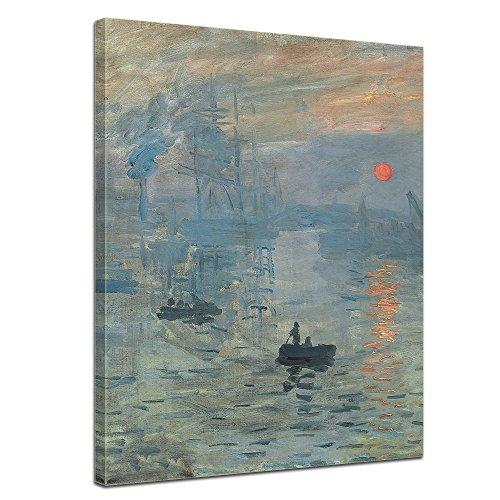 Wandbild Claude Monet Impression Sonnenaufgang - 50x60cm hochkant - Alte Meister Berühmte Gemälde Leinwandbild Kunstdruck Bild auf Leinwand