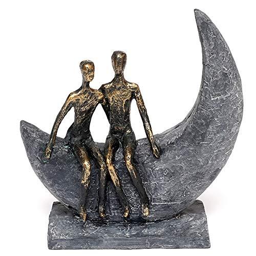 Brillibrum Design Skulptur Liebespaar auf dem Mond aus Polyresin gefertigt Bronze farbende Kunst Figur Freundschaft Statue Moon Liebevolle Deko