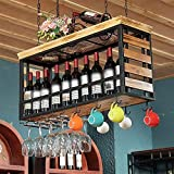 LXYPLM-WR1 Ceiling Wine Racks Metal Wall Mounted Wine Rack Solid Wood Bar Rack Industrial Style Wine Cabinet Wine Glass Rack Cup Holder, 5 Sizes(Size:150 * 30 * 50cm)