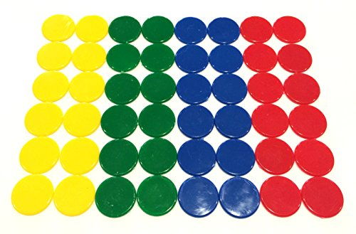 Plastic Counters 48: Blue Red Yellow and Green Color Gaming Tokens Hard Colored Plastic Coins Markers and Discs for Bingo Chips Tiddly Winks Checkers and Other Board Game Playing Pieces