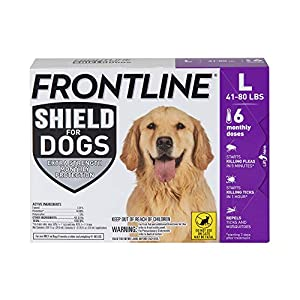 FRONTLINE Shield for Dogs Flea & Tick Treatment, 41-80 lbs, 6ct