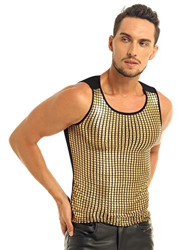 TiaoBug Herren Tank Top ärmellos Slim fit T-Shirts Stylische Weste Muskelshirt Glänzend Oberteil Unterhemd Party Shirt Clubwear Kostüm Gold XL