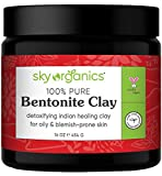 Indian Healing Clay By Sky Organics 16oz -100% Pure & Natural Bentonite Clay-Therapeutic Grade - Face Skin Care, Deep Skin Pore Cleansing, Detoxifying- Helps with Acne & Rejuvenating Skin- Made in USA bentonites May, 2021