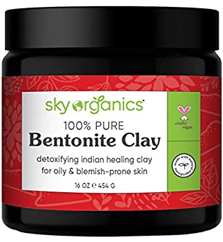 Bentonite Clay by Sky Organics  16 oz  100% Pure Bentonite Clay Indian Healing Clay Face Mask for Oily Blemish-Prone Skin Pore Purifying Face Mask Detoxifying Face Mask for Blemishes