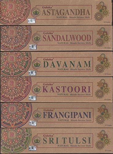 Goloka Set di 6–Kastoori, Astagandha, Davanam, Legno di Sandalo, Sri Tulsi, Frangipani–by Organica Series by