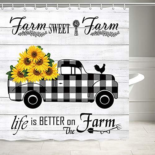 DYNH Farm Sweet Farmhouse Duschvorhang, Sonnenblumen & Huhn auf rustikalem schwarz-weißem Karomuster, Landhausstil, Duschvorhang für Badezimmer 69