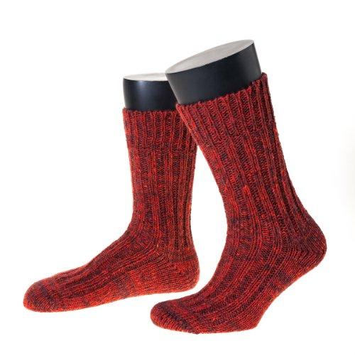 NORDPOL Damen- und Herrensocke wie handgestrickt aus 100% Schurwolle, kurz, 1 Paar, rotmeliert, Made in Germany, Gr. 48-52