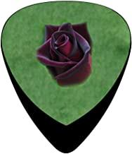 Celluloid Guitar Picks Holders Plectrum For Electric Guitar,Best Gift For Guitar Lover,Print Black Baccara Rose,12 Pack