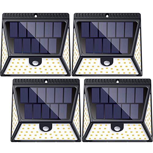 BAXiA Lampe Solaire Exterieur 100LED 2400mAh Eclairage Exterieur Solaire Detecteur de Mouvement 2000LM, 2 Pi/èces Extra Lumineuses Lumiere Solaire Etanche Sans Fil Projecteur Solaire pour Jardin