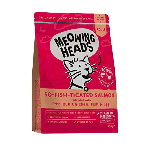 Meowing Heads Katzenfutter Trocken - Lachs - 100% Natürlicher Lachs mit Huhn, keine künstlichen Geschmacksverstärker, Getreidefrei, 450g