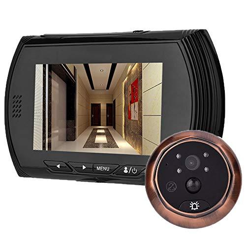 Topiky Pantalla LCD TFT de 4,3 Pulgadas Cámara Digital Visor de Mirilla Cámara con visión Nocturna Grabación de Video Gran Angular Grabación de Fotos, Cámara de Seguridad con Timbre