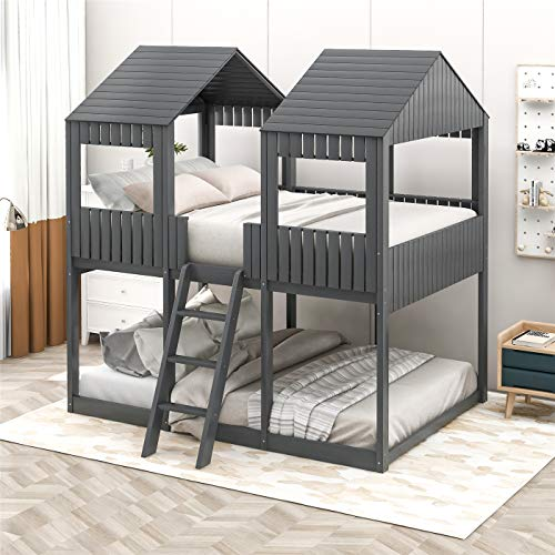 Full House Bed, Low Bunk Beds Full Over Full Size, Wood Bunk Beds with Roof and Guard Rail for Kids, Toddlers, No Box Spring Needed (Antique Gray)