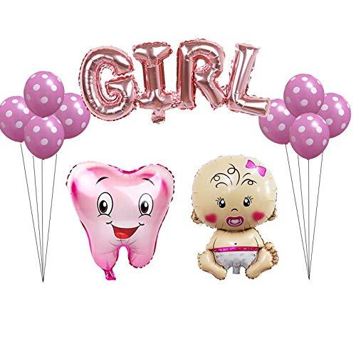 LIZHIOO 12 Teile/Satz Große rosa blau Zahn Folienballons Jungen mädchen Zahn Thema Party Luft Aufblasbare Globos Geburtstagsfeier dekor Bälle (Color : Girl Set)