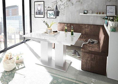 MyStyleWood Eckbank Olga Vintage Braun mit Säulentisch Weiß Küchenbank Sitzecke dick gepolstert Kunstleder pflegeleicht stabiles Holzgestell 168x128R