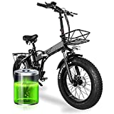 Elektrofahrrad E-Bike Klapprad 20 Zoll, 15AH 48V Lithium-Batterie Mit 750W Motor, Poland-Warehouse, 4.0 Fat Tire Faltbare E Bike Herren mit 7-Gang, Höhenverstellbar (7-15 Days)
