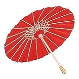 Duokon Paraguas de Papel en Blanco Paraguas de Papel de Aceite Colorido para niños Niños Pintura DIY Craft Graffiti Pintado a Mano Paraguas Artesanal (Diámetro 30 cm)(Rojo)