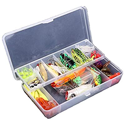 Lixada 105Pcs Artificial Fishing Lure Set Hard Soft Bait Minnow Spoon Two-layer Fishing Tackle Box from Docooler