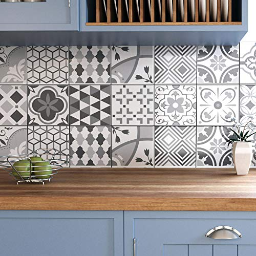 Ze Flair Stickers Cuisine et Salle de Bain, Adhesif pour Carrelage Mural, Imitation Faience, Imitation Carreaux de Ciment 20cm x 20cm - 25 pièces - Applicateur Pose Facile Offert - Nuances de Gris
