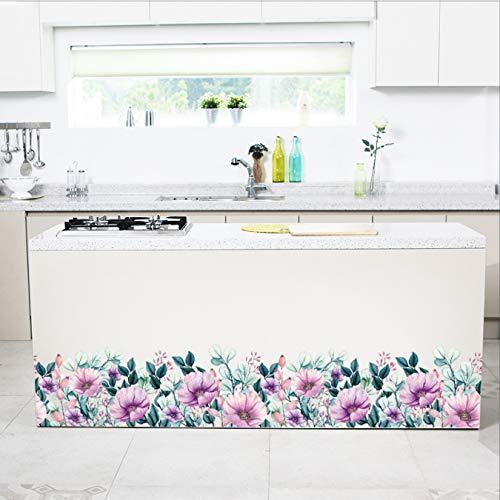 Pegatina de pared de zócalo de flor púrpura, gabinete de sala de estar, pasillo, ventana de vidrio, gabinete, decoración del hogar, calcomanía, pegatinas de arte mural