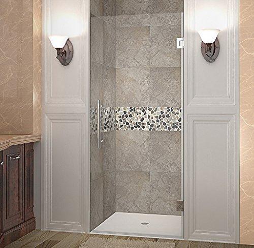 "Aston Cascadia 34"" x 72"" Completely Frameless Hinged Shower Door, Brushed Stainless Steel"