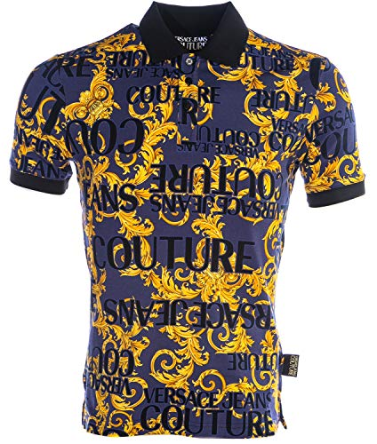 VERSACE JEANS COUTURE Sprous Baroque Print Polo Shirt in Blue & Gold