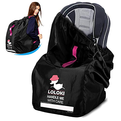Car Seat Travel Bag for Air Travel - Carseat Gate Chek Bag for Airplane with Carrier - Universal Airport Backpack Booster Cover for Kids Baby Infant and Toddler - Convertible Car Seat Bags by Loloki