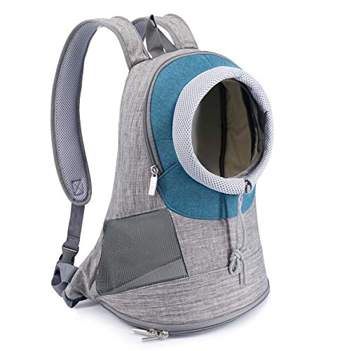 Companet Pet Carrier Backpack,Dog Carriers Chest Bag,Pet Front Shouder Pack,Breathable Head Out Design and Padded Shoulder for Small Medium Dogs & Cats Hiking Outdoor Travel