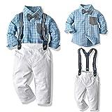 SANMIO Baby Jungen Bekleidungssets, Hemd + Hose + Fliege Krawatte Kinder Anzug Gentleman Festliche Hochzeit Langarm Body für Frühling Herbst (Blau, Etikette 100/Körpergröße 90-100 cm)