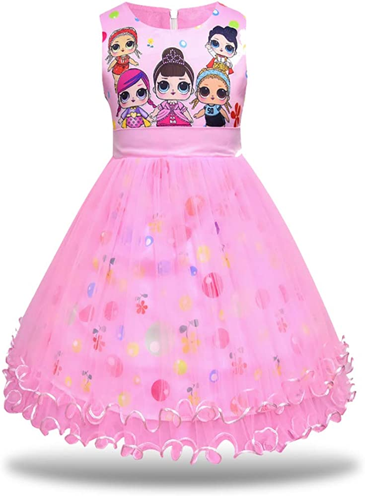 Maturead Little Girls Casual Dress Flying Sleeve Digital Print for Doll Surprise Kids Princess Party Tutu Dresses Clothes