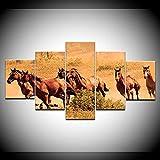 ComposicióN De 5 Cuadros De Madera Para Pared Paisaje de grupo de caballos de animales Cuadros Decoracion Dormitorios Cuadros Para Cabeceros Cama Lienzos Decorativos Cuadros Grandes Baratos 150x80cm