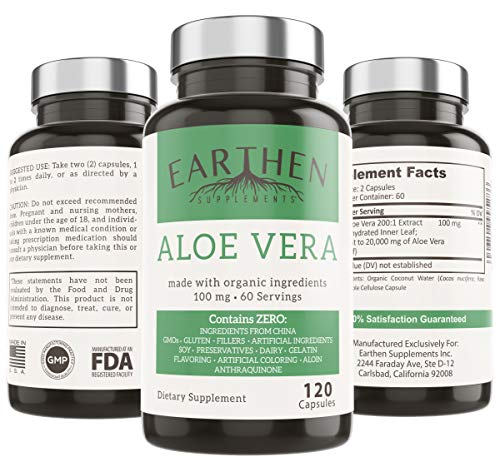 Organic Aloe Vera Supplement Equivalent to 20,000mg- RAW All Natural Non-GMO