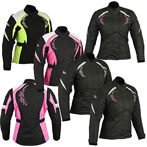 Vrouwen Motorfiets Motorfiets Gepantserde Textiel Cordura Waterdichte Jas voor Dames 3X-Large Black With Pink Flower
