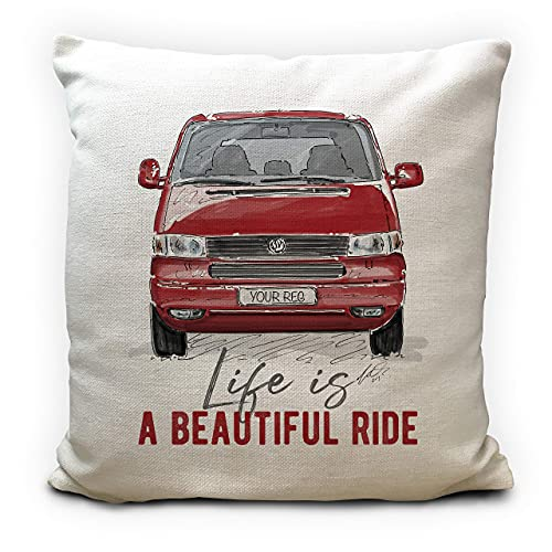 Personalised Camper Van Transporter T4 Cushion Cover Gift 5 Colours Choices Customised Number Plate - 16 inch