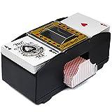 AEUWIER Mezclador de Cartas automático, máquina mezcladora electrónica de 2 Cubiertas para barajar Cartas de Juego, Herramienta de Juego de Cartas con Pilas para Casino Poker, Rummy