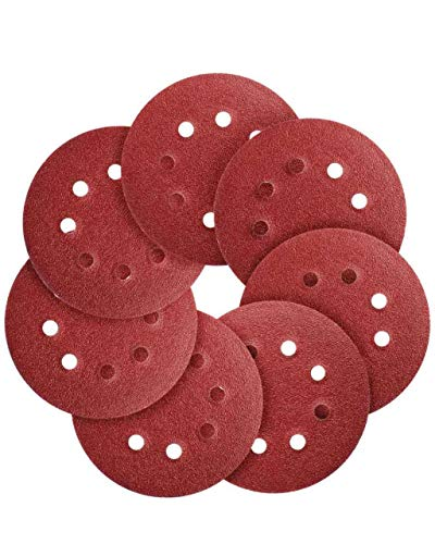 Sanding Discs 72 PCS Hook and Loop 5 in Sanding Disc 5 Inch 8 Hole Sandpaper Orbital Sander Pads 40/60/80/120/180/240/320 Grits