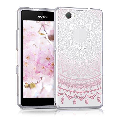 kwmobile Cover Compatibile con Sony Xperia Z1 Compact - Custodia in Silicone TPU - Backcover Protettiva Cellulare Sole Indiano Rosa/Bianco/Trasparente