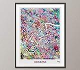 Brisbane Landkarten-Druck, Aquarell-Kunstdruck, Brisbane