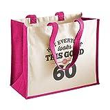 Sac en toile de coton pour femme - cadeau/courses/souvenir - pour 60ème anniversaire - naturel - 33 x 42 x 19 cm