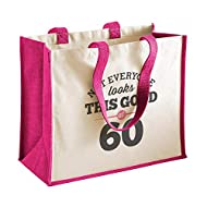 60th birthday gift bag with capacity of 21 litres Open top bag, no zip 60th birthday design appears on one side only Can be carried by hand or over the shoulder Cotton carry handles Dimensions: 42 x 33 x 19cm, Handle length 60cm